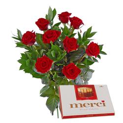 Róże z czekoladkami