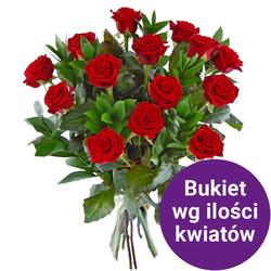 44 róż z przybraniem